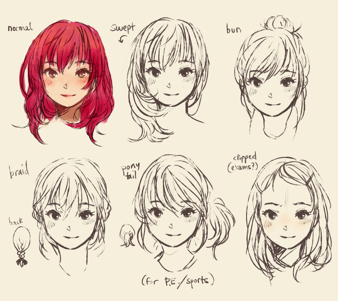 Drawings Of Girls Hair From The Back Drawn Long Hair Back Hair