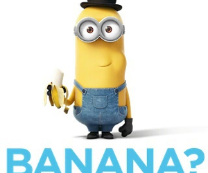 minions, banana, and kevin image