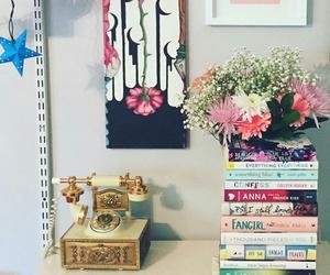 books, flower, and vintage image