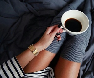 coffee, nails, and bed image