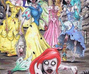 princess, disney, and zombie image