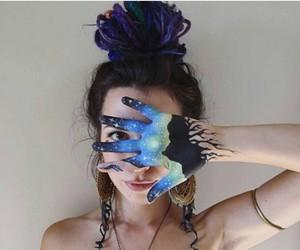 blue, body art, and bohemian image