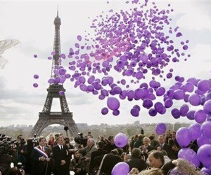 paris, purple, and balloons image