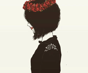 girl, black, and red image