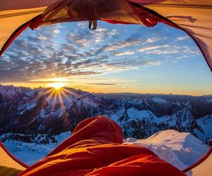 mountains, sunrise, and adventure image