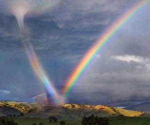 rainbow, nature, and tornado image