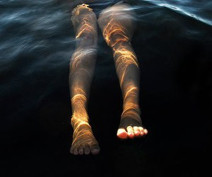 water, legs, and sea image