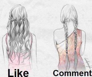 hair, braid, and drawing image
