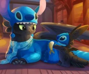stitch, toothless, and disney image