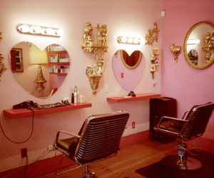 pink, salon, and mirror image