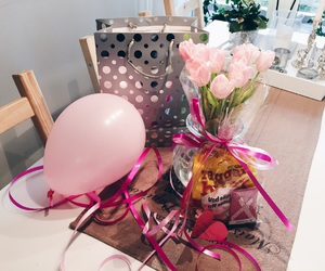 balloon, pink, and flowers image