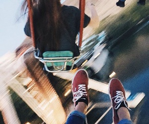 blur, swing ride, and chair swing image