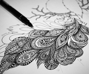 art, black and white, and drawing image
