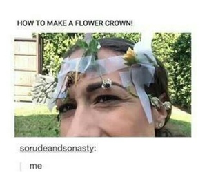 diy, flower crown, and funny image