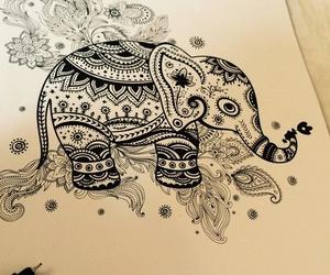 art, doodle, and elefant image