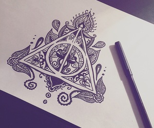 art, book, and deathly hallows image