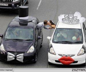 love, car, and wedding image