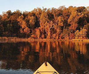 autumn, canoe, and cold image