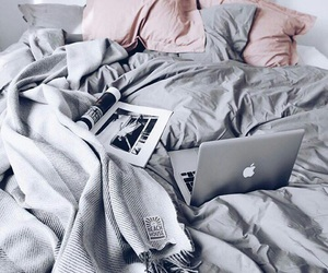 bed, grey, and pink image