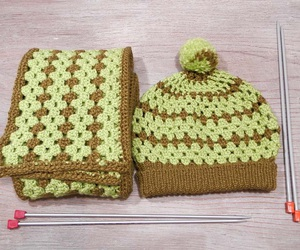 beanie, crochet, and scarf image
