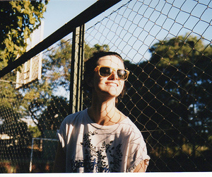 fence, smile, and sunglasses image