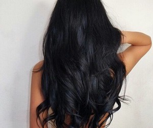 curly hair, fashion, and black long hair image