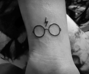 harry potter, tattoo, and glasses image