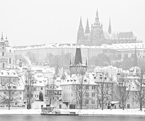 snow, winter, and prague image