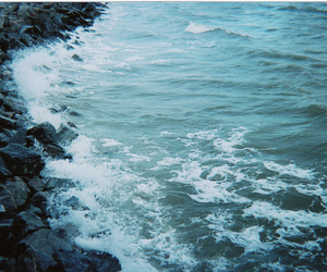 ocean, photo, and rocks image