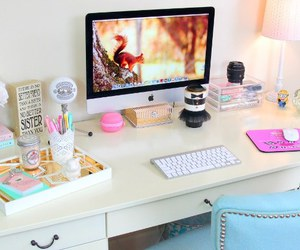 desk, imac, and room image