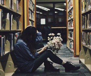 flowers and library image