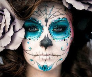 Halloween, makeup, and blue image