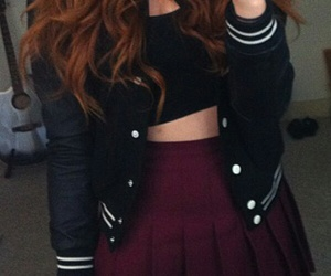 burgundy lips, black crop top, and black knee high socks image
