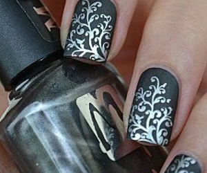 nails, silver, and black image