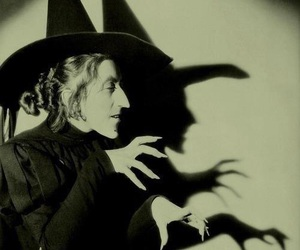 witch, Wizard of oz, and black and white image
