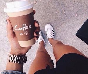 coffee, adidas, and drink image