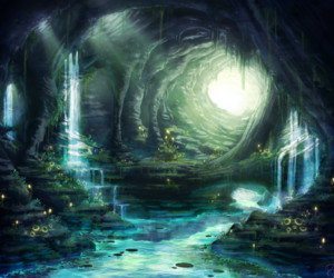 art, cave, and fantasy image