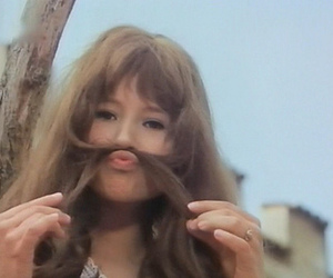 bangs, girl, and moustache image