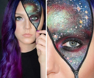 Halloween, galaxy, and makeup image