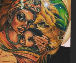 color, tattoo, and lion image