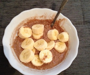 bananas, chocolate milk, and oatmeal image
