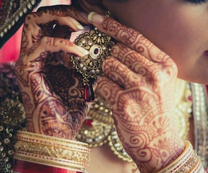 henna, indian, and bride image