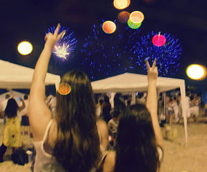 beach, frinds, and fireworks image