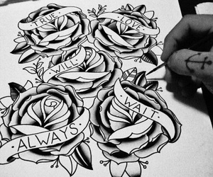 tattoo, rose, and love image