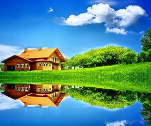 house, nature, and pond image