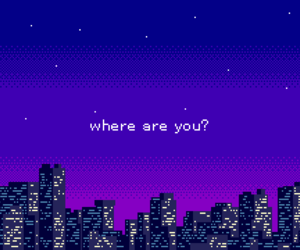 city, purple, and pixel image