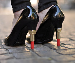 shoes, lipstick, and black image