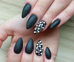 black nails, nails, and matte image