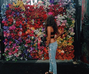 flowers, girl, and colors image