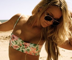 beach, pink, and sunglasses image